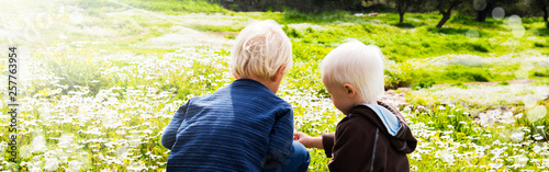 Two Children, Brothers, Sitting In A Daisy Flower Meadow - 257763954