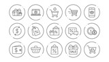 Shopping line icons. Gift, Percent sign and Sale discount. Delivery linear icon set. Line buttons with icon. Editable stroke. Vector