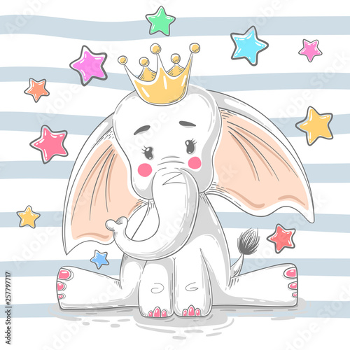 Cute princess elephant - cartoon characters. © HandDraw