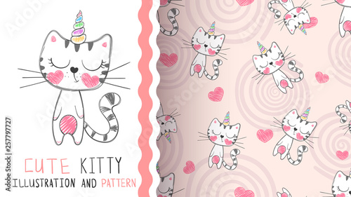 Cute kitty unicorn - seamless pattern. © HandDraw
