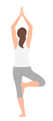 Cartoon people character design woman practicing yoga standing in single leg © Phoebe Yu