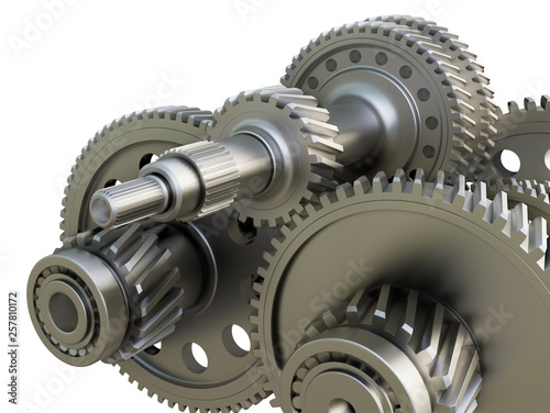 Leinwandbild Motiv Gearbox concept. Metal gears, shafts and bearings