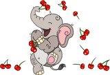 Happy elephant playing with cherries