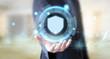 businessman with digital shield