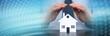 Symbol of home insurance. panoramic banner