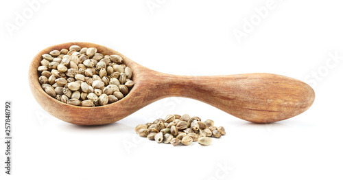 Hemp seeds in wooden spoon © Dionisvera