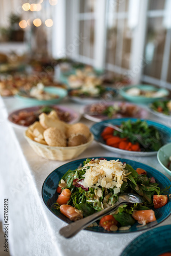 Variety assortment of different luxury food snacks and appetizers, concept of decorated catering banquet set, on a party event celebration © Anna Vovk