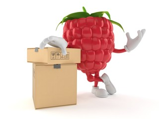 Raspberry character with stack of boxes