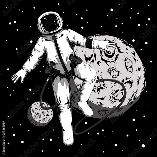 A vector image of an astronaut in open space. Astronaut on the background of the planets.