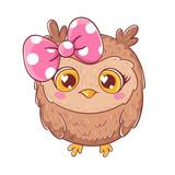 Cute cartoon owl with bow