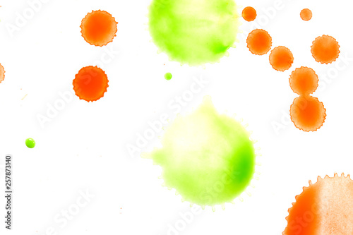 Orage and Green Watercolour Splat on White Bckground - 257873140