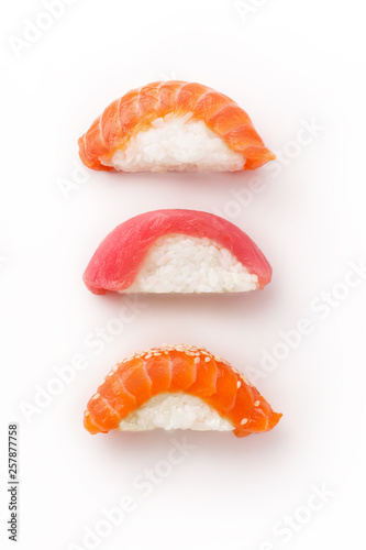 Creative layout with various sushi on white background