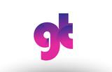 pink gradient gt g t alphabet letter logo combination icon design