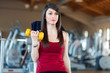 Quadro Woman doing fitness in a gym