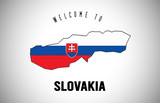 Slovakia Welcome to Text and Country flag inside Country border Map Vector Design.