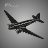 Old vintage piston engine airliner. Legendary retro aircraft vector illustration