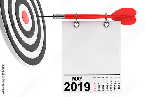 Leinwanddruck Bild Calendar May 2019 with Target. 3d Rendering