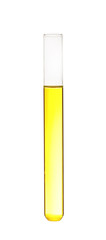 Test tube with color liquid on white background. Solution chemistry © New Africa