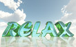 relax glass text on reflective calm water surface with epic sky background - 257974729