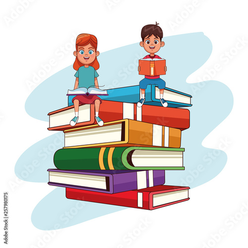Kids and books cartoons - 257980175