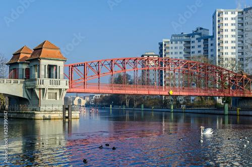Leinwanddruck Bild Trussed arch Haven bridge (Tegeler Hafenbruecke or, more popularly, Sechserbruecke) in Berlin