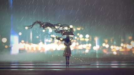 mysterious woman with umbrella at rainy night, digital art style, illustration painting