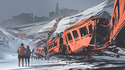 two hikers walking through a train wrecked in snow mountain, digital art style, illustration painting