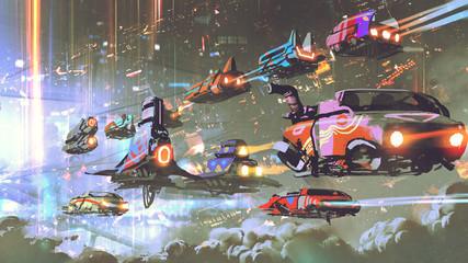 flying car traffic in the futuristic world, digital art style, illustration painting © grandfailure
