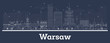 Outline Warsaw Poland City Skyline with White Buildings. - 258034951