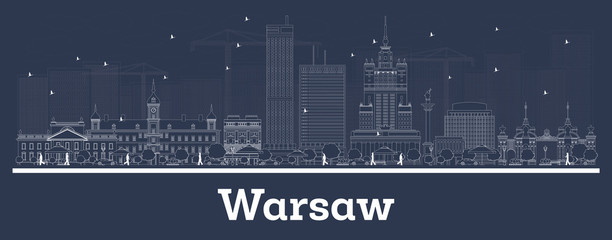 Outline Warsaw Poland City Skyline with White Buildings.