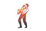 Music, jazz, play, saxophone, performance concept. Hand drawn isolated vector.