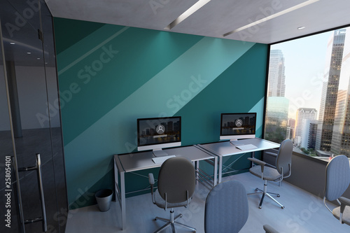 fototapeta na ścianę Glass Office Room Wall Mockup - 3d rendering