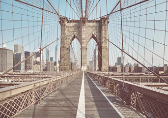 Retro toned picture of the Brooklyn Bridge, New York, USA.