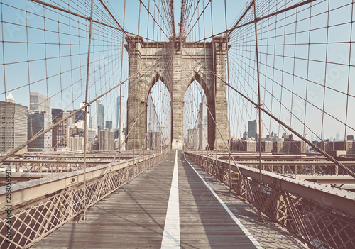 Retro toned picture of the Brooklyn Bridge, New York, USA. © MaciejBledowski