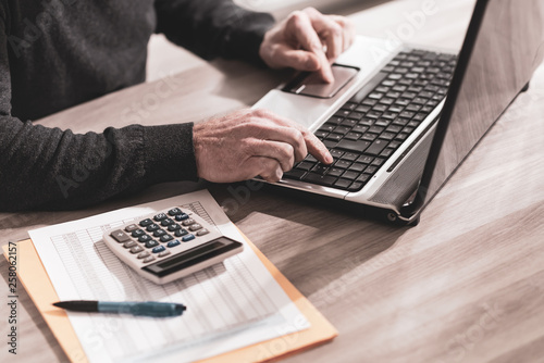 Accountant working on laptop © thodonal