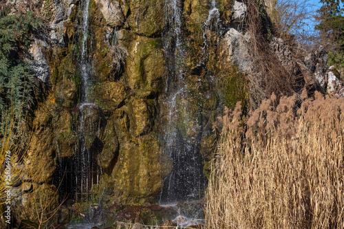canvas print picture Kleiner Wasserfall und Schilf im Frühling an einem Teich im Park