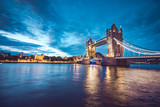 Illuminated Tower Bridge right after the sunset