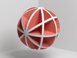 Abstract red white 3 d spherical object