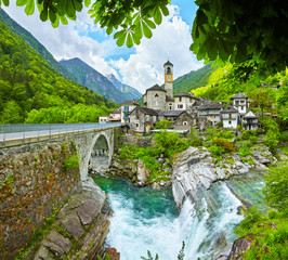 The village Lavertezzo with the river Riale Carecchio in Switzerland