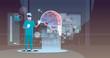 male doctor wearing digital glasses looking virtual reality brain human organ anatomy healthcare medical vr headset vision concept hospital operating room interior full length horizontal