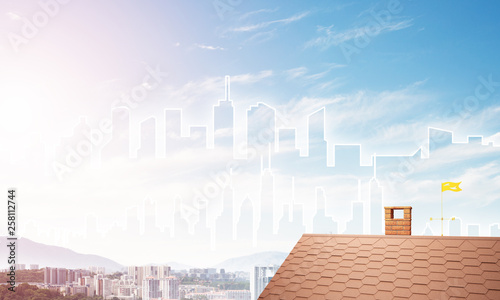 Concept of real estate and construction with drawn silhouette on big city background - 258112744