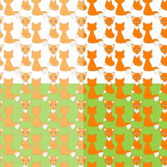 Set of seamless patterns, cute little foxes. Vector backgrounds. © koshkamurka