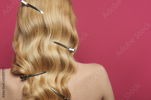 Leinwandbild Motiv Hairstyle with barrette clips on blonde hair