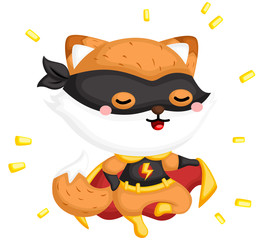 A vector of a cute fox wearing superhero costume