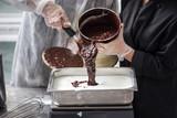 Making Of gelato chocolate ice cream