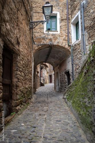 Typical Italian narrow street, Apricale, Italy