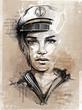canvas print picture - Captains Woman