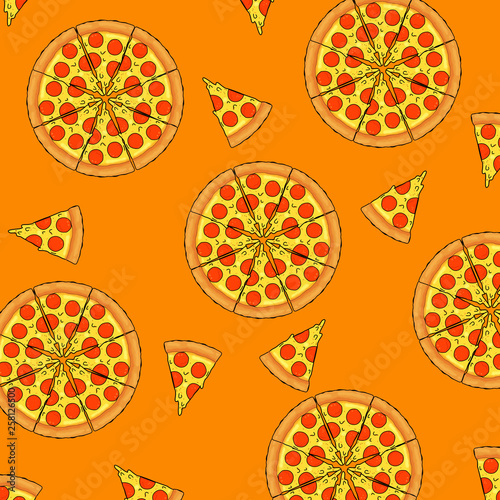Pizza slice seamless pattern - 258126500