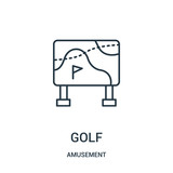 golf icon vector from amusement collection. Thin line golf outline icon vector illustration.