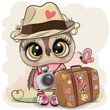 Kreskówka sowa w kapeluszu z bagażem